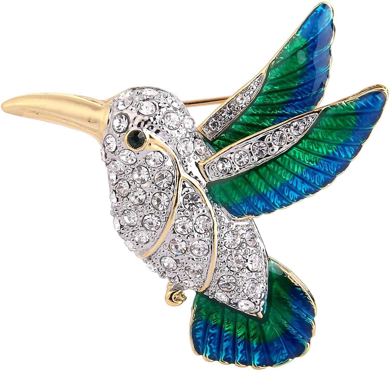 EVER FAITH Austrian Crystal Enamel Flying Little Hummingbird Brooch Pin Clear Gold-Tone
