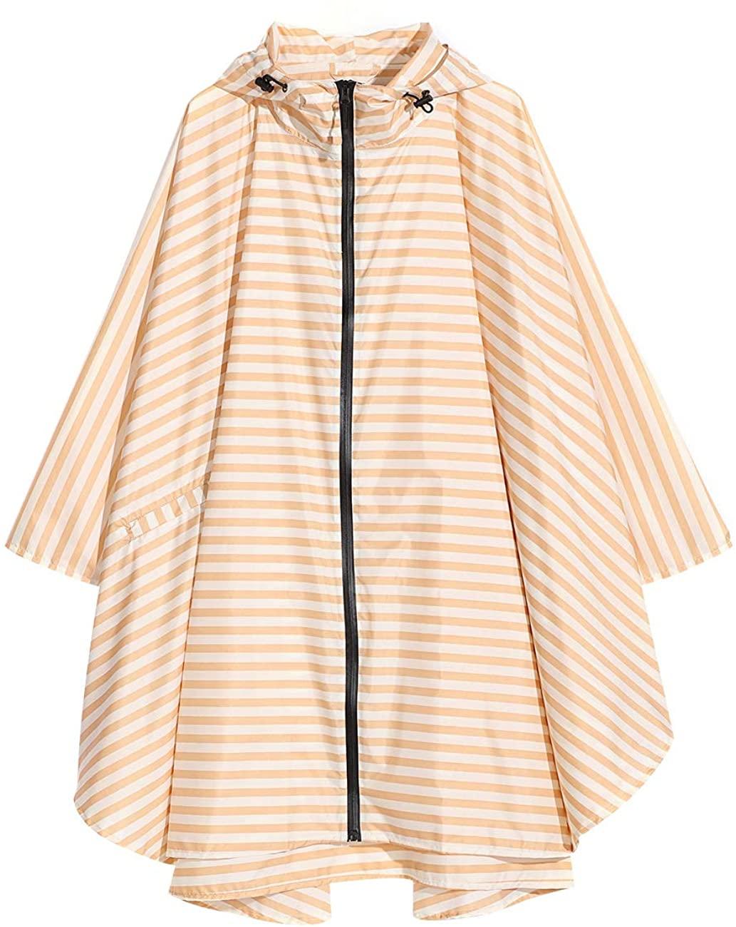 Women's and Big Gril's Waterproof Raincoat Lightweight Packable Rain Coat Poncho Hooded Polka Dot