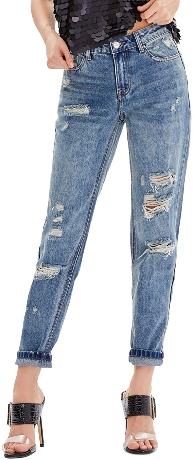 Nicasia Women's Distressed Ripped Jeans Mid Rise Faded Wash Blue Fit Juniors Ankle Jeans