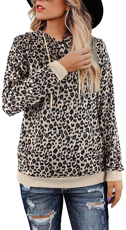 Youdiao Women's Casual Leopard Print Tops Crew Neck Sweatshirt Basic Hoodies Pullover