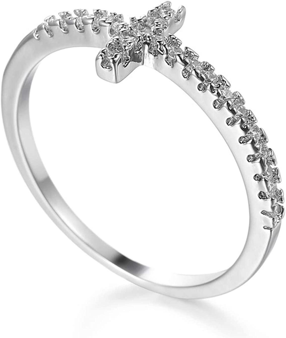 Aivdoirla Cubic Zirconia Rings Sideways Cross Ring Promise Ring Diamond CZ Brass White Gold Plated Wedding Engagement Anniversary Rings for Women Sizes 6 to 10