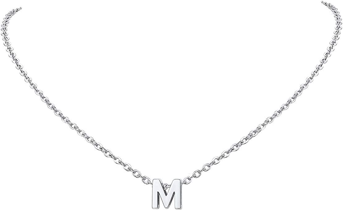 FindChic Tiny Gold Initial Necklace for Girls 18K Gold/Platinum Plated Dainty Alphabet Monogram Letter A to Z Charm Necklace for Women Personalized Name Jewelry Gift
