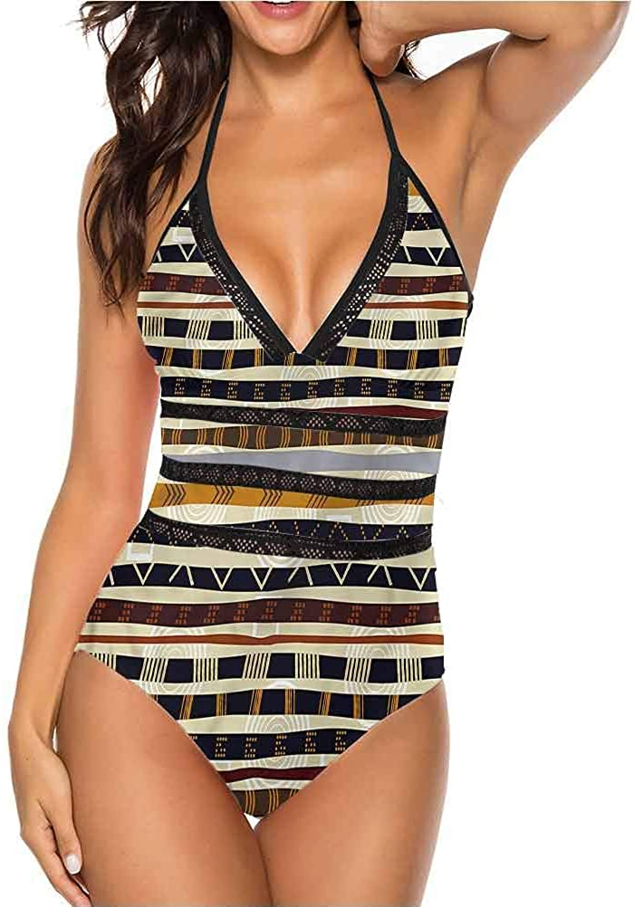 Auraise Heybee Sexy Swimwear Swimsuit Moroccan Treillage Pattern Perfect for Pool or The Beach