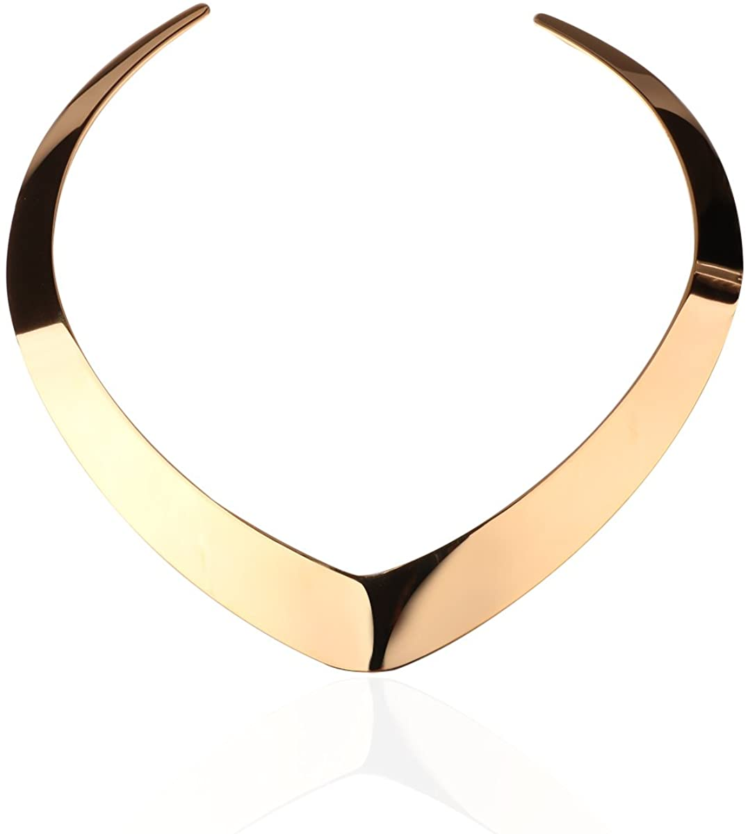 Carfeny Gold/Rose Gold/Silver Choker Necklaces for Women,Love Heart Shaped End Open Adjustable Statement Jewelry for Women