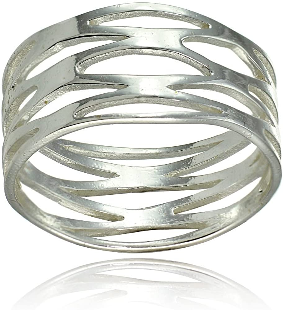 Hoops & Loops Sterling Silver High Polished Multi Wrap Band Ring