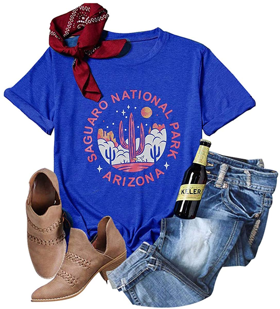 GEMLON Cactus T Shirt Women Travel Shirt Retro Western Graphic Tees Short Sleeve O Neck Casual Tops