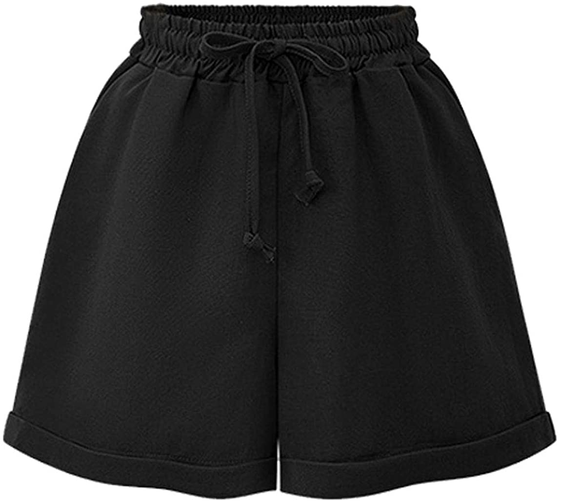 HOW'ON Women's Cotton Elastic Waist Curling Shorts with Drawstring