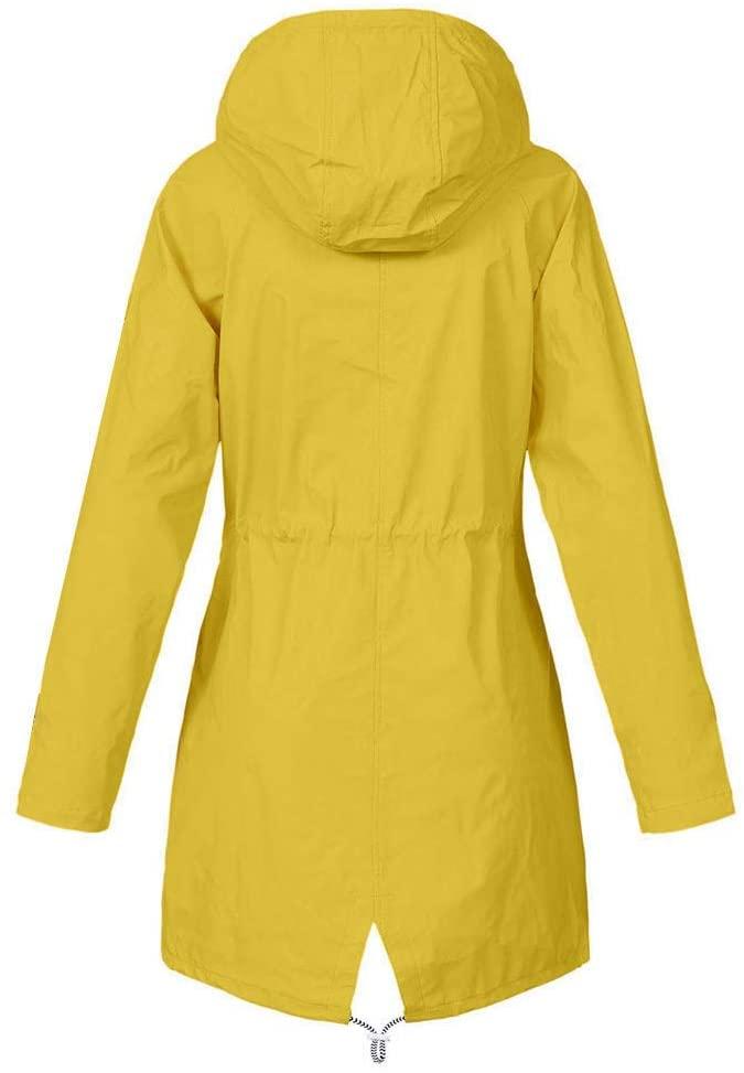Women's Raincoats Waterproof Hooded Jackets Long Sleeve Lightweight Windbreaker Zip up Trench Coats Breathable Active Outdoor Travel Jacket