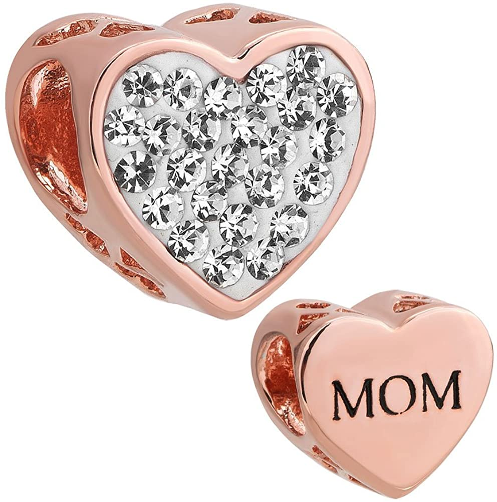 LovelyJewelry Mothers Day Heart Mom Charms Clear Simulated Birthstone Synthetic Crystal Beads