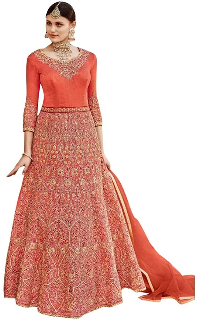 Bollywood Long Heavy Bridal Anarkali Salwar kameez Gown Dress Suit Muslim Wedding Custom to Measure Eid Festive Indian 2547