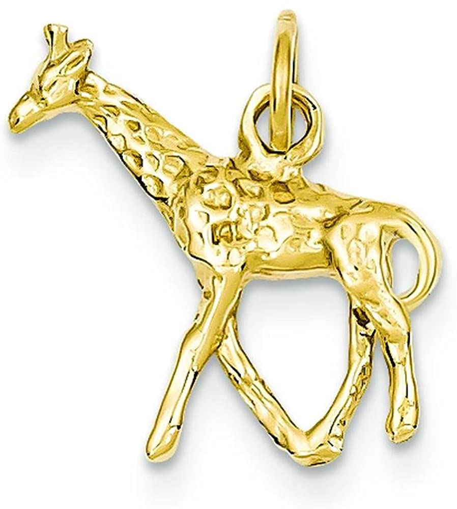 14K Yellow Gold 3D Giraffe Charm African Animal Jewelry