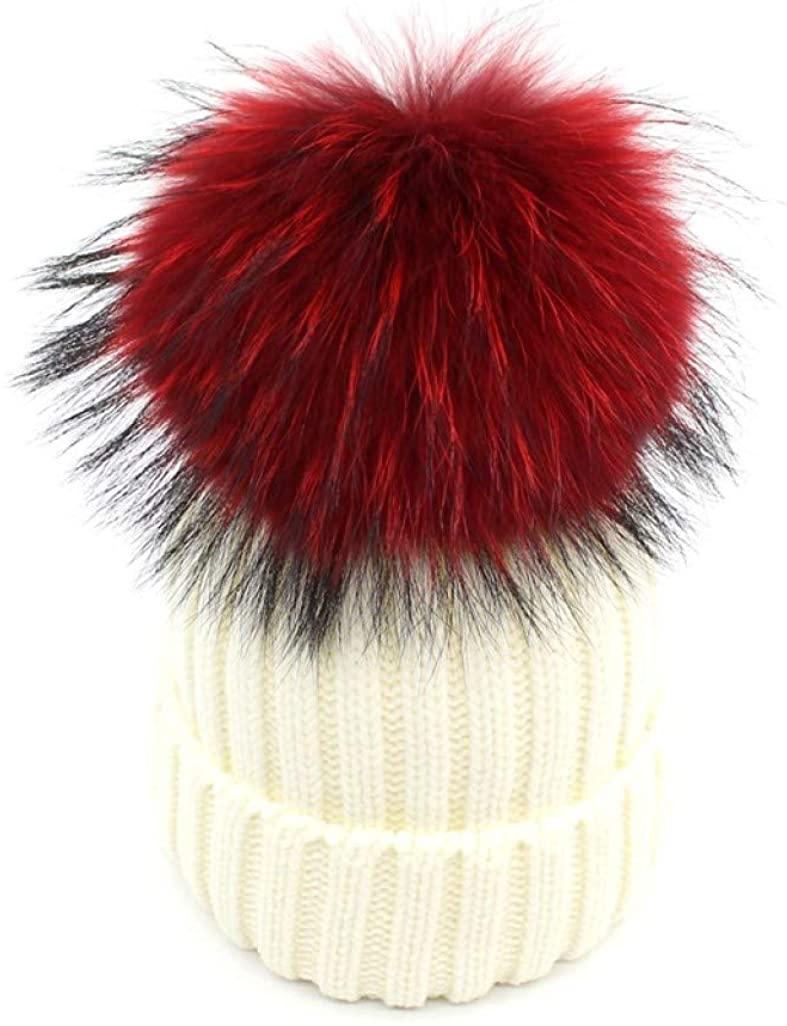 Real Mink Fur Pompom Hat Women Winter Beanies Skullies Bonnet Female White and Red