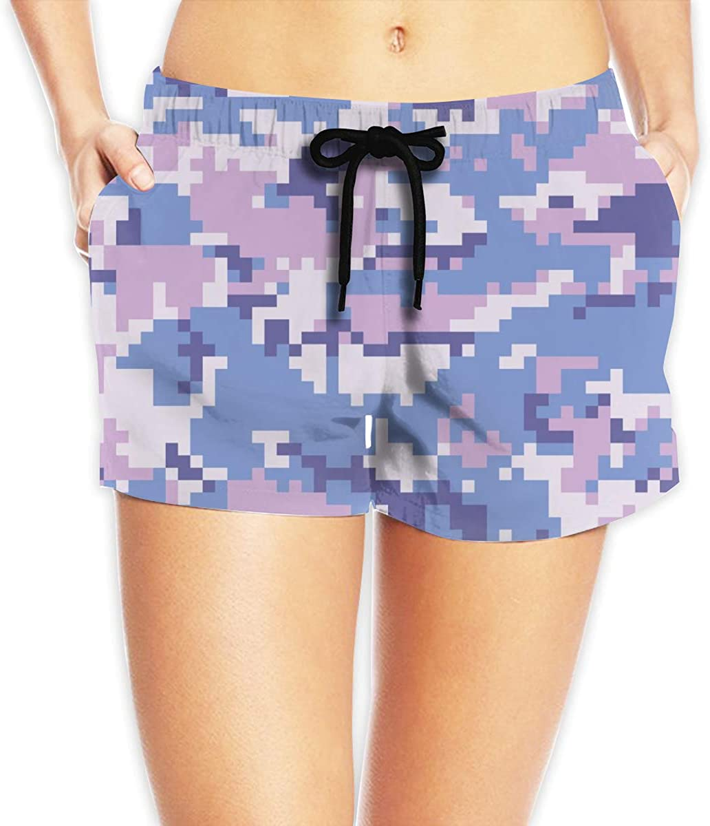 MOCSTONE Military Camouflage Women's Beach Shorts Board Shorts with Pocket Swimming Trunks