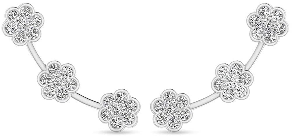 14 Karat White Gold IGI Certified Diamond Ear Cuff Earring, Unique Flower Screw Back Cuff Wrap Earring for Women - IJ-SI Color Clarity