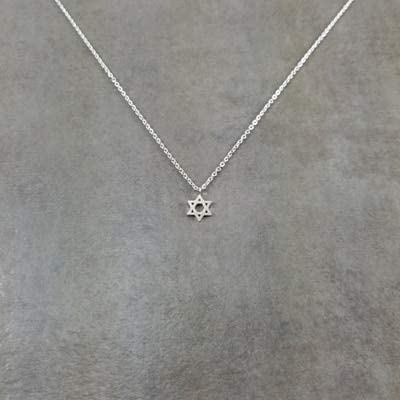 Davitu Simple Hexagram Pendants & Necklaces Charm Women Tantrism Jewelry Stainless Steel Chain Choker Necklace Davituhip Gifts Davitu - (Metal Color: Silver Plated)