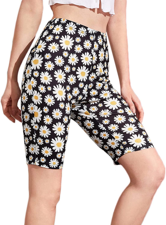 MakeMeChic Women's Skinny Workout Shorts Floral Print Elastic Waist Biker Shorts