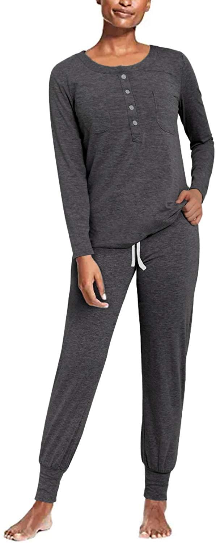 SUNNYME Pajamas for Women Long Sleeve Sleepwear Set Nightwear Tops Lounge Jogger Pants Soft Loungwear Pjs