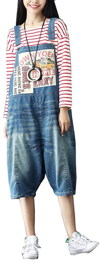 maydaiyar High Waist Jeans Capri Pants Plus Size Print Denim Rompers Womens Jumpsuit