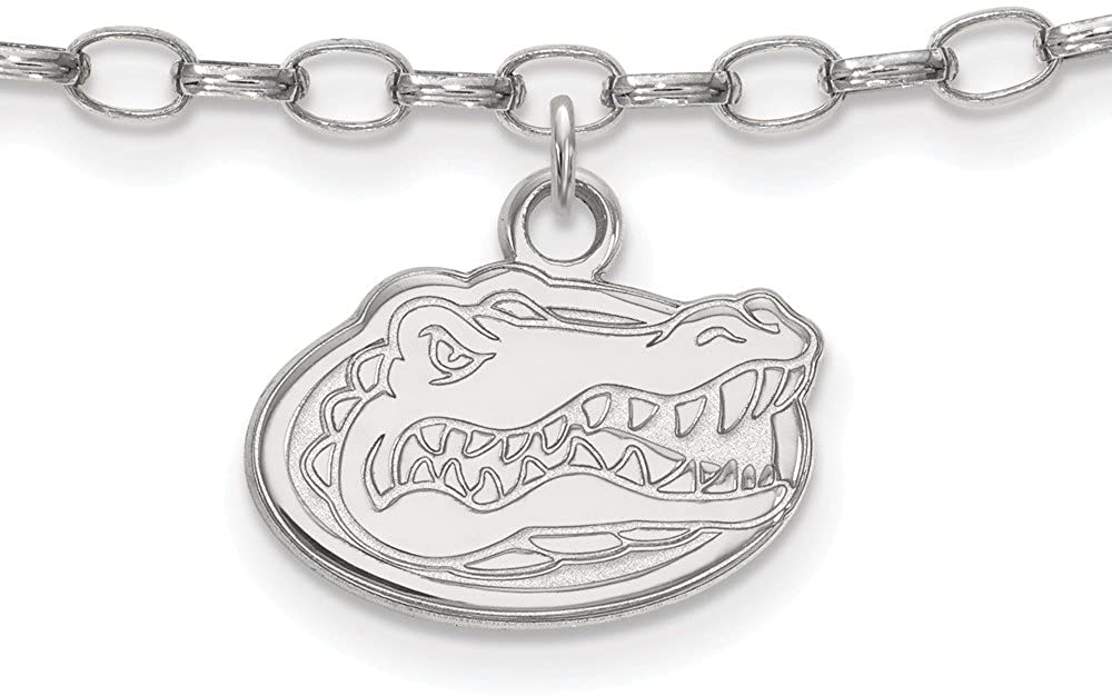 Sterling Silver Rh-plated LogoArt University of Florida Anklet, Length: 9 in, Sterling Silver