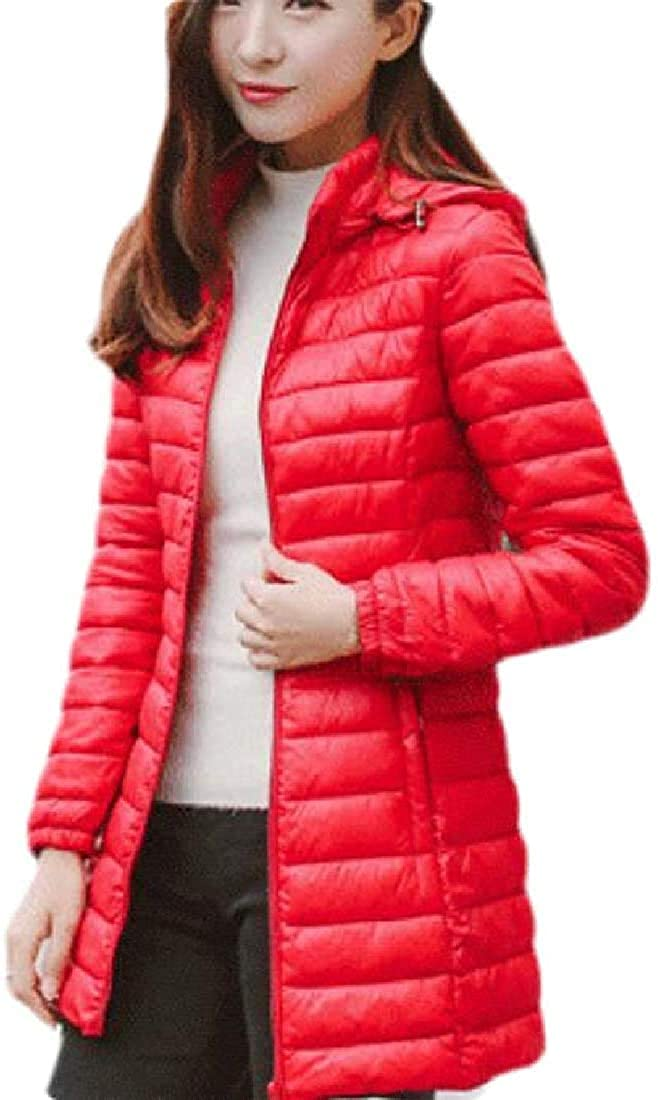 Women's Stand Collar Hooded Stylish Quilted Lightweight Down Jacket Coat
