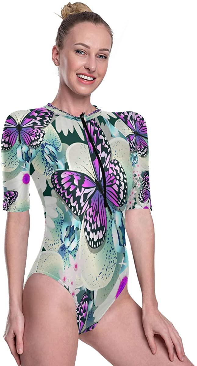 Women's One Piece Short Sleeve Rashguard Surf Swimsuit Seamless Flowers with Butterfly Bikini