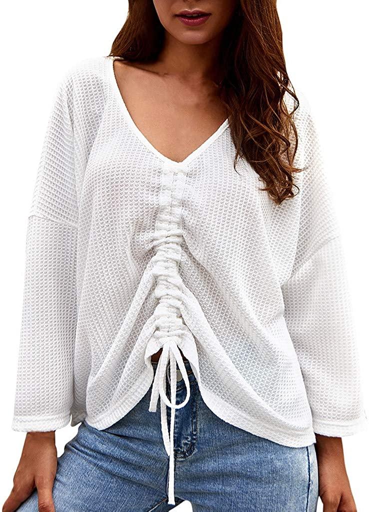 LEKODE Women T-Shirt Fashion Solid Lace V-Neck Long Sleeve Tops
