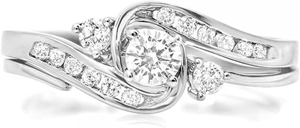 Dazzlingrock Collection 0.50 Carat (ctw) 10K Round Diamond Ladies Swirl Bridal Engagement Ring Set 1/2 CT, White Gold