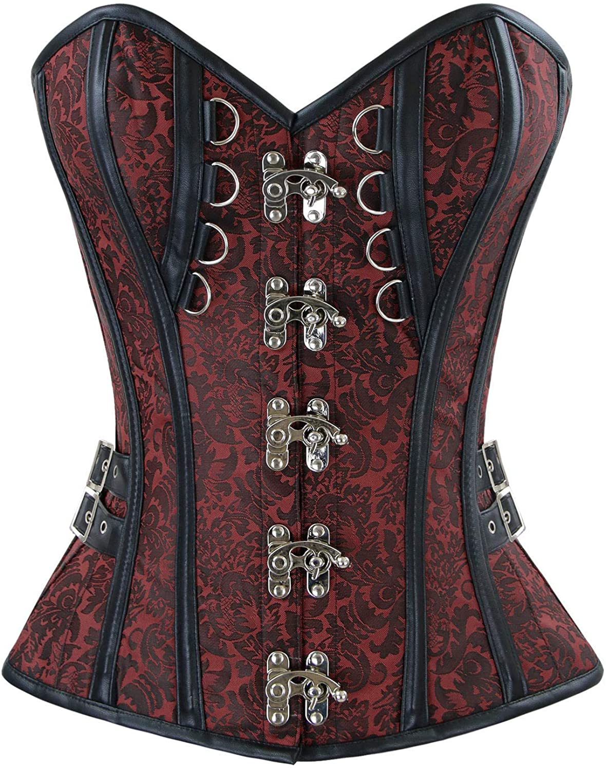 Charmian Women's Steampunk Gothic Brocade Spiral Steel Boned Corset with Buckles