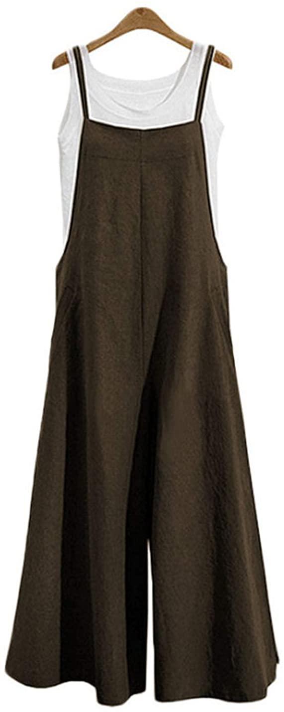 Flygo Women's Loose Linen Plus Size Wide Leg Suspenders Jumpsuits Bib Overalls