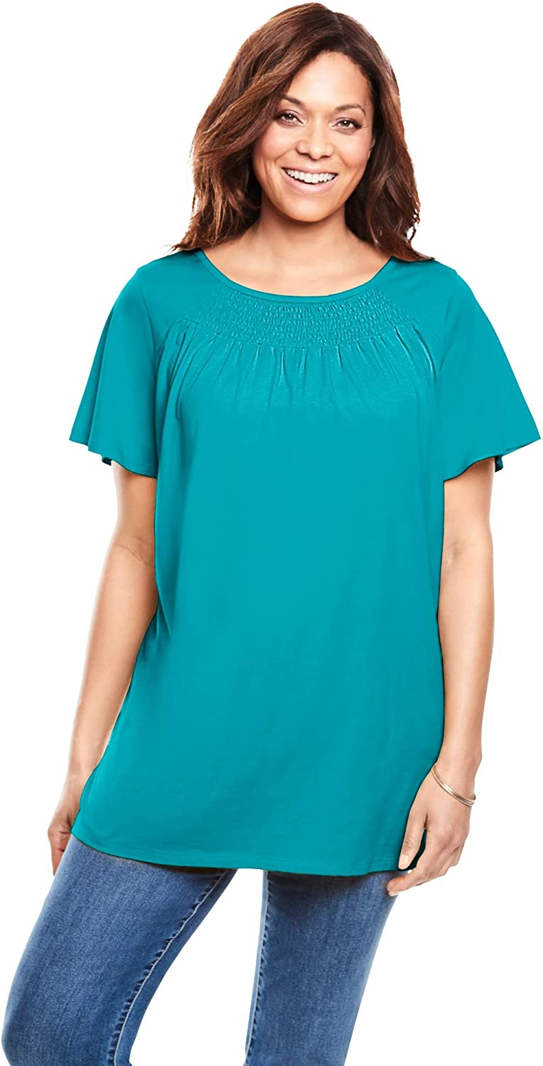 Woman Within Women's Plus Size Smocked Neck Top