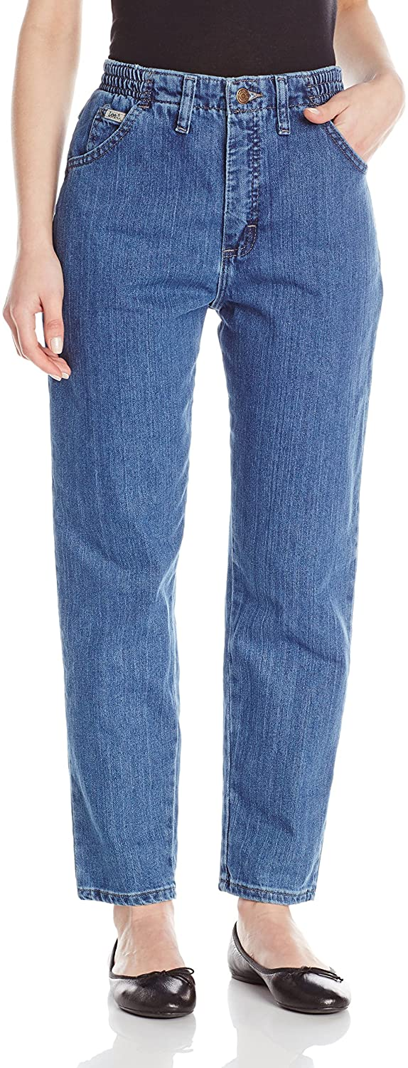 Lee Women's Petite Relaxed Fit Side Elastic Tapered Leg Jean
