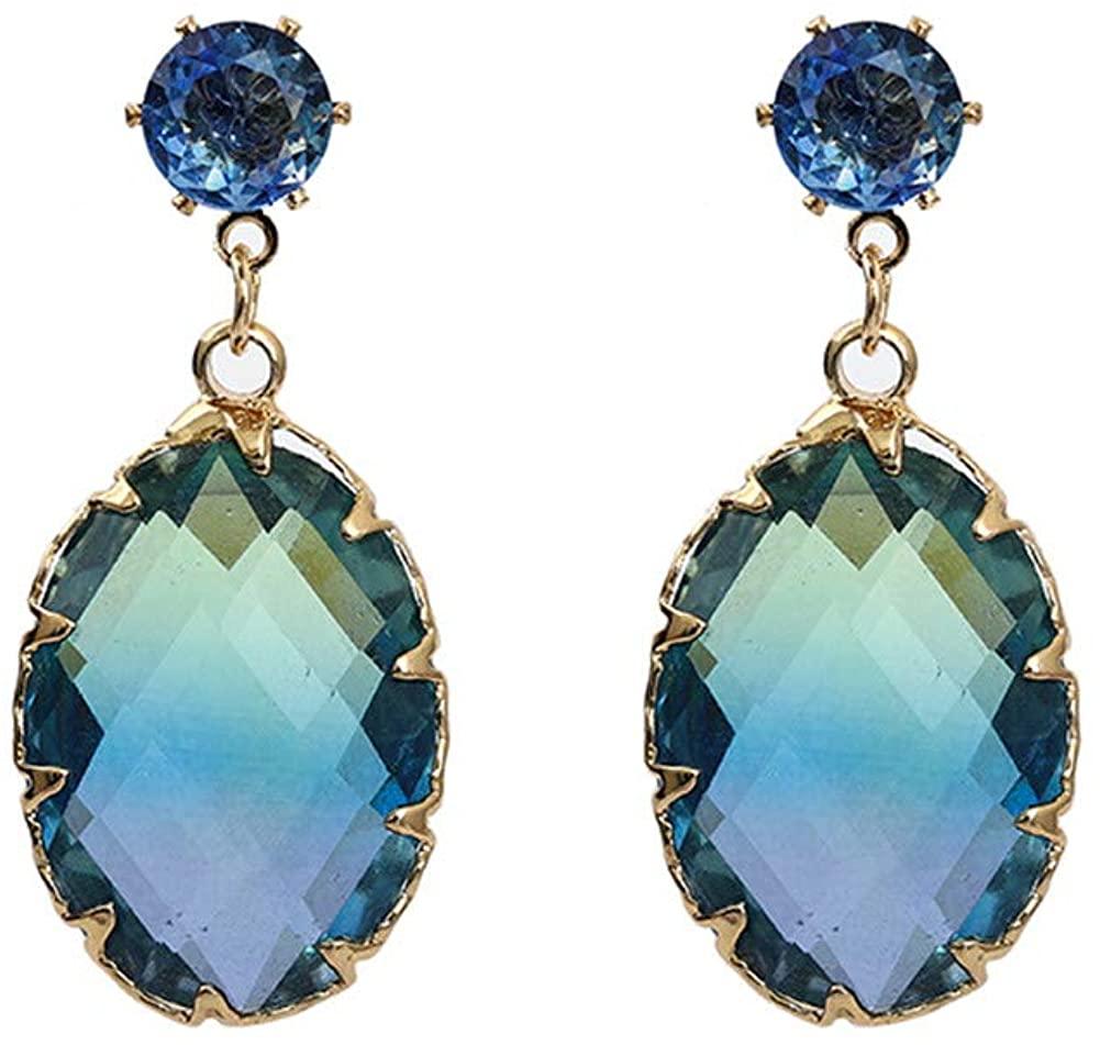 Oval Crystals Drop Earrings Dangles Earring for Womens Hypoallergenic Jewelry
