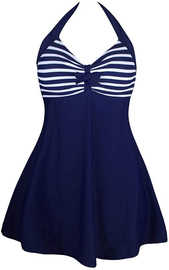 Aechnnei Tankini Two Piece Bikini Set Swimsuit for Women, Detachable High Waist Padded Beach Swimsuit Without Steel Ring
