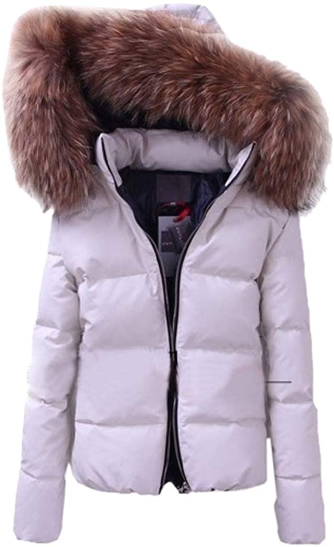 Smeiling Women Winter Parka Faux Fur Lined Hood Down Jacket Warm Outdoor Outwear