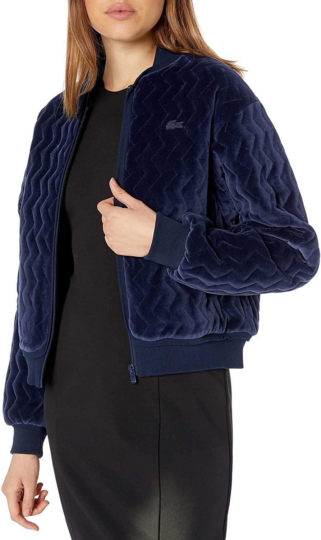 Lacoste Womens Long Sleeve Velvet Pique Bomber Jacket
