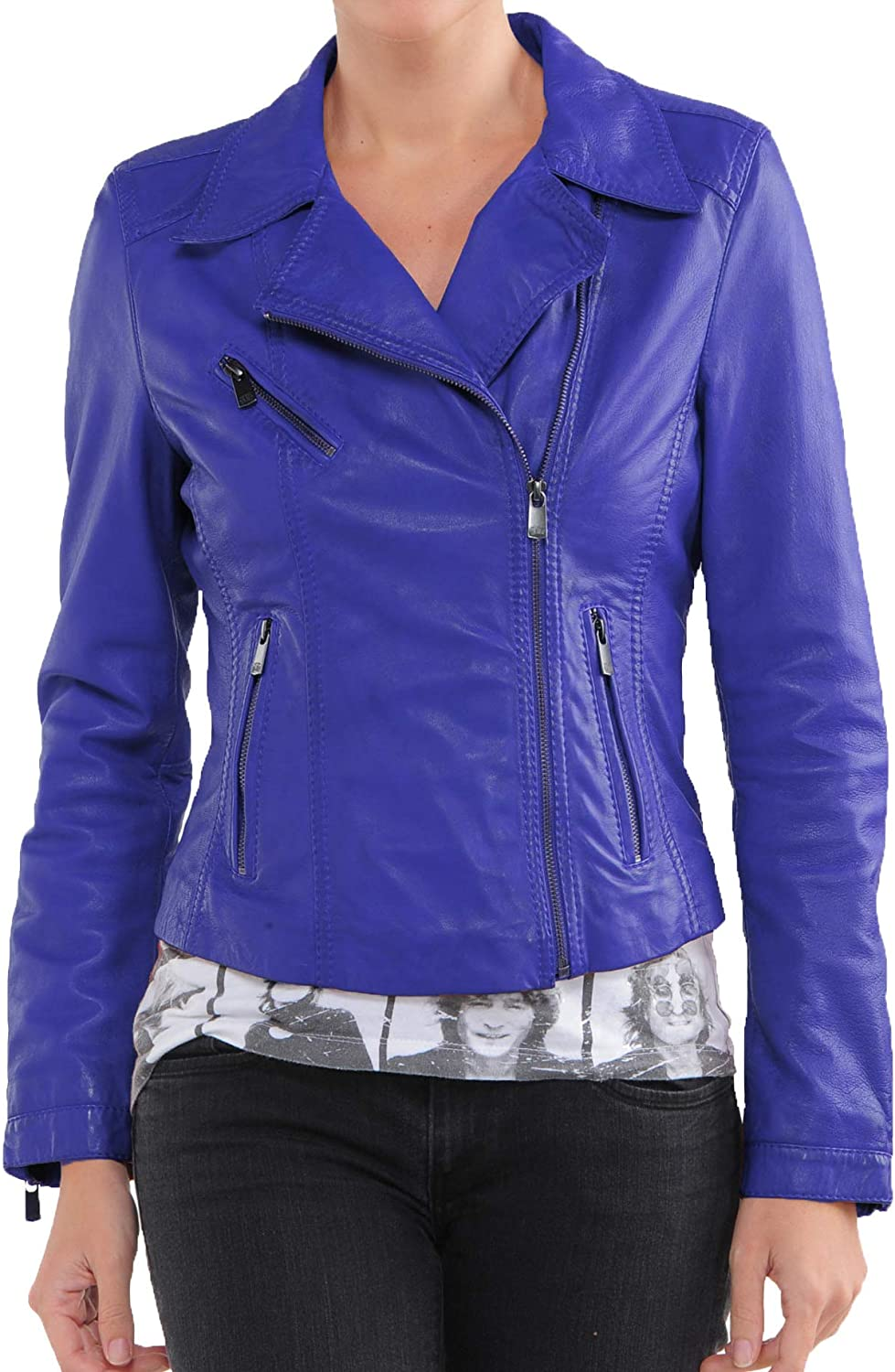 Womens Stylish Genuine Lambskin Motorcycle Bomber Biker Leather Jacket WJ 90
