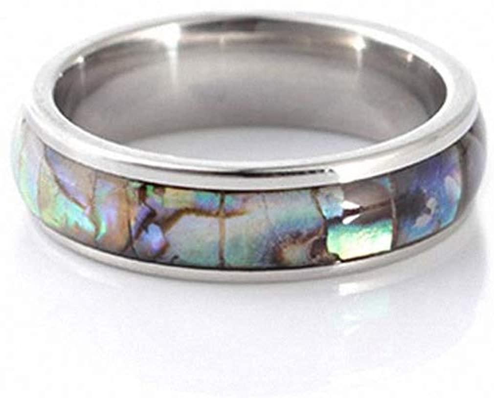Giwotu Womens Mens Rings Abalone Shell Stainless Steel Finger Rings Wedding Bands for Men Women Comfort Fit Size 6-12 Lovers Couple's Ring #280165