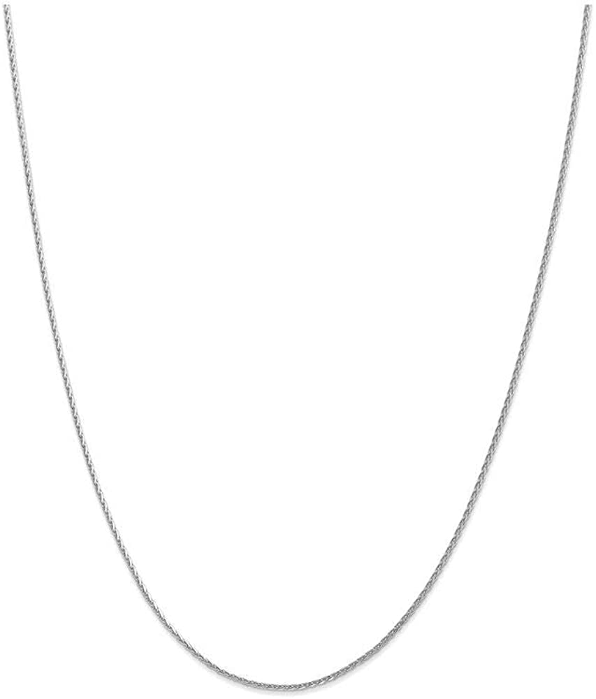 Finejewelers 9 Inch 14k White Gold 1.5mm Round bright-cut Wheat Chain Ankle Bracelet (Smaller Ankles)