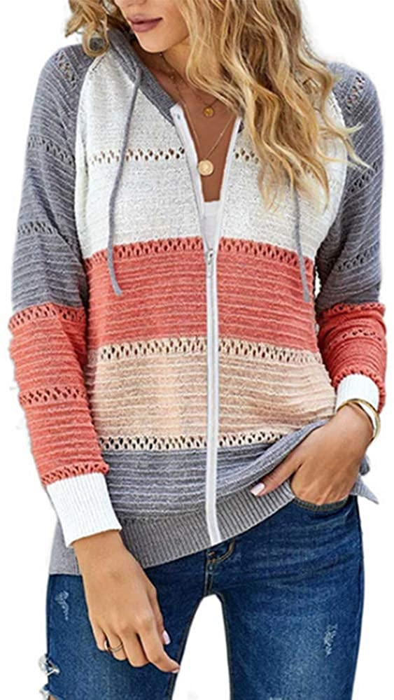 Seakee Women Long Sleeve Hoodies Striped Color Block Knitted Pullover Sweatshirts Tops