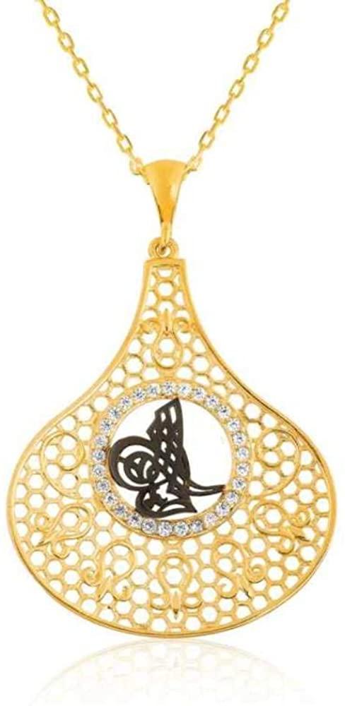 KOKANA Rose Plated Tulip Ottoman Tugra Symbol Necklaces for Women and Girls