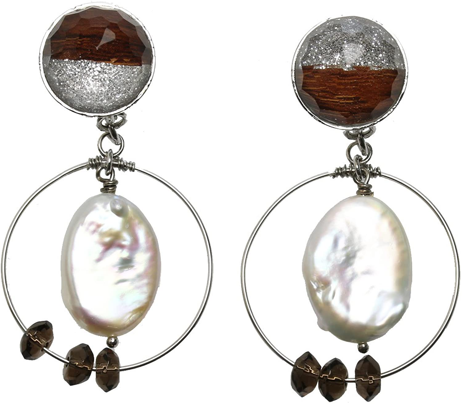 Tamarusan Earrings Freshwater Pearl Smoky Quartz Silver Lame Hoop Handmade Resin