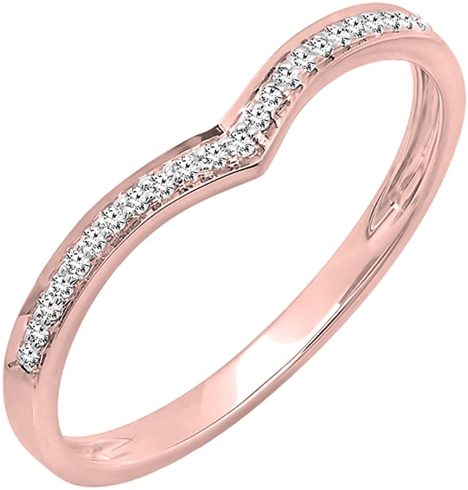 Dazzlingrock Collection 0.08 Carat (ctw) 10K Gold Round White Diamond Ladies Wedding Stackable Band Anniversary Chevron Ring