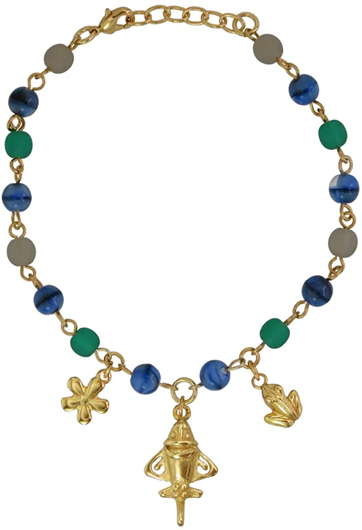 Across The Puddle, Ancient Aliens Collection, Czech Crystals Bracelet with a 24k Gold Plated Pre-Columbian Quimbaya Golden Jet Ornament