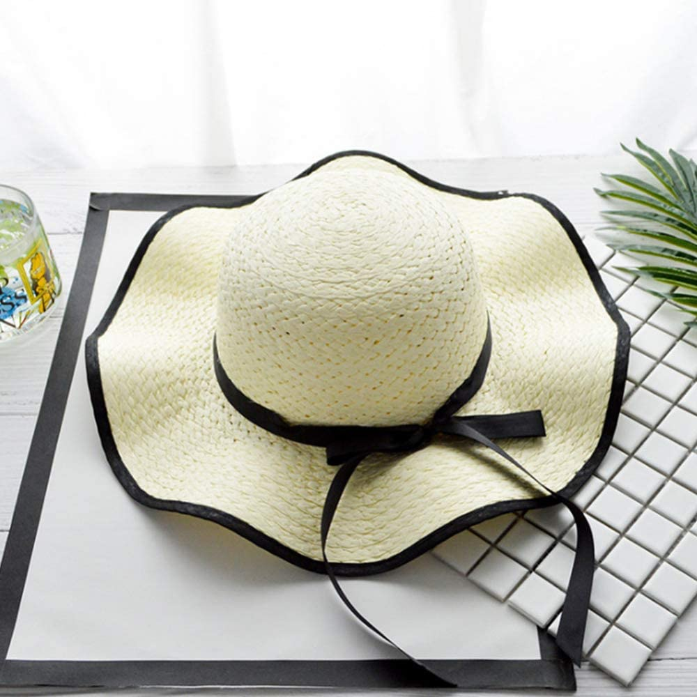 s61Ylu d1HhgJ Women Elegant Straw Bowknot Large Brim Sunscreen Outdoor Cap Milk White