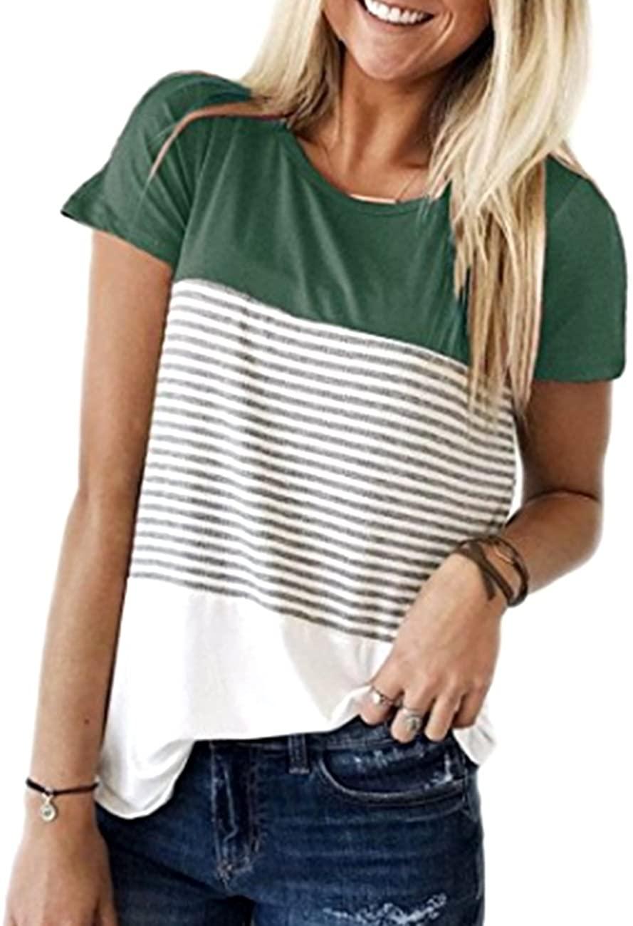 Defal Women's Short Sleeve Color Block Stripe Junior Blouse for Leggings Tops T-Shirt