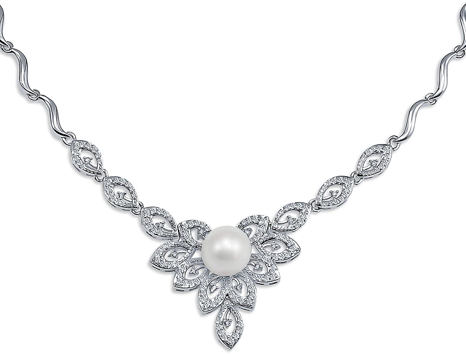 Bridal Blue White Leaf CZ Fashion Simulated Pearl V Drop Collar Statement Necklace for Women for Wedding Silver Plated