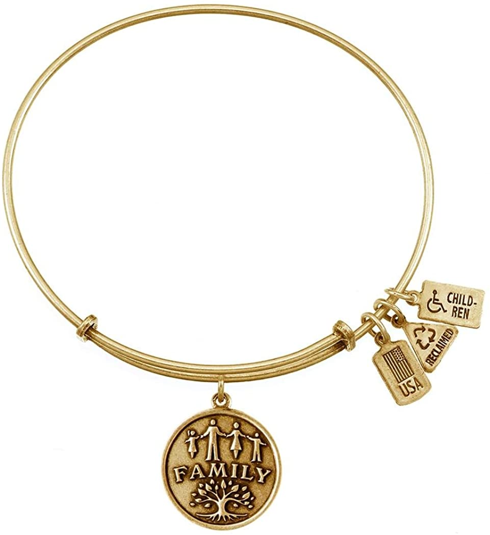Wind and Fire Family Gold Finish Charm Bangle