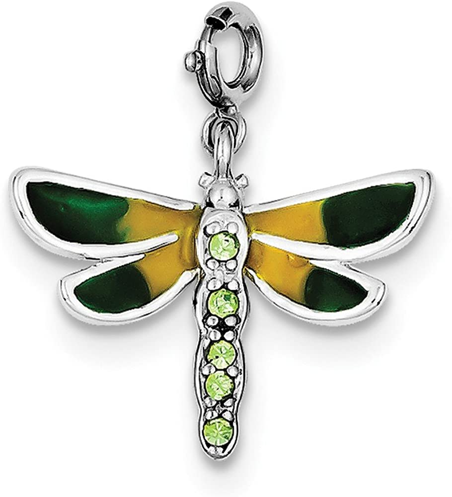 Beautiful Sterling silver 925 sterling Sterling Silver Rhodium-plated CZ & Enameled Dragonfly