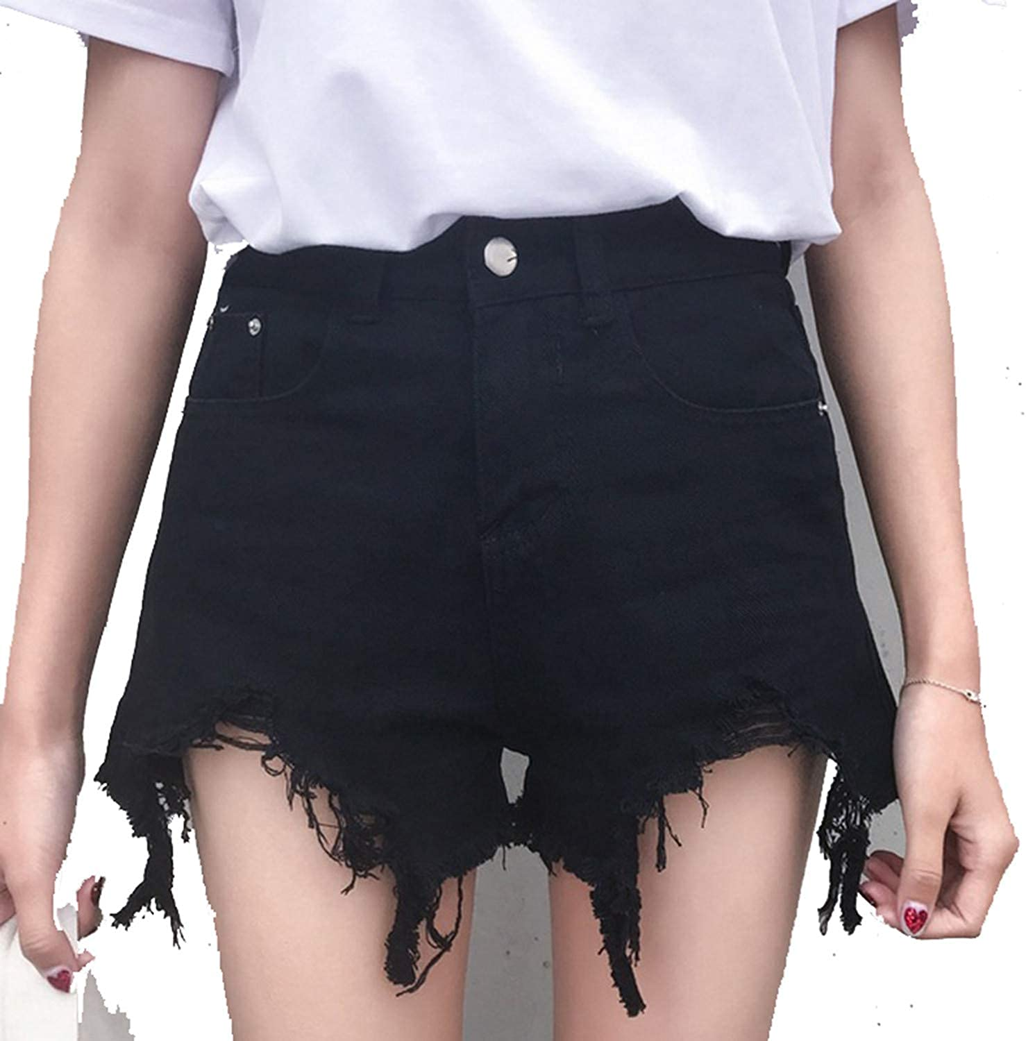 Anewsex Fashion High Waist Hairy Hole Denim Shorts Women Wild Loose Wide Leg Shorts Jeans Tide Black White