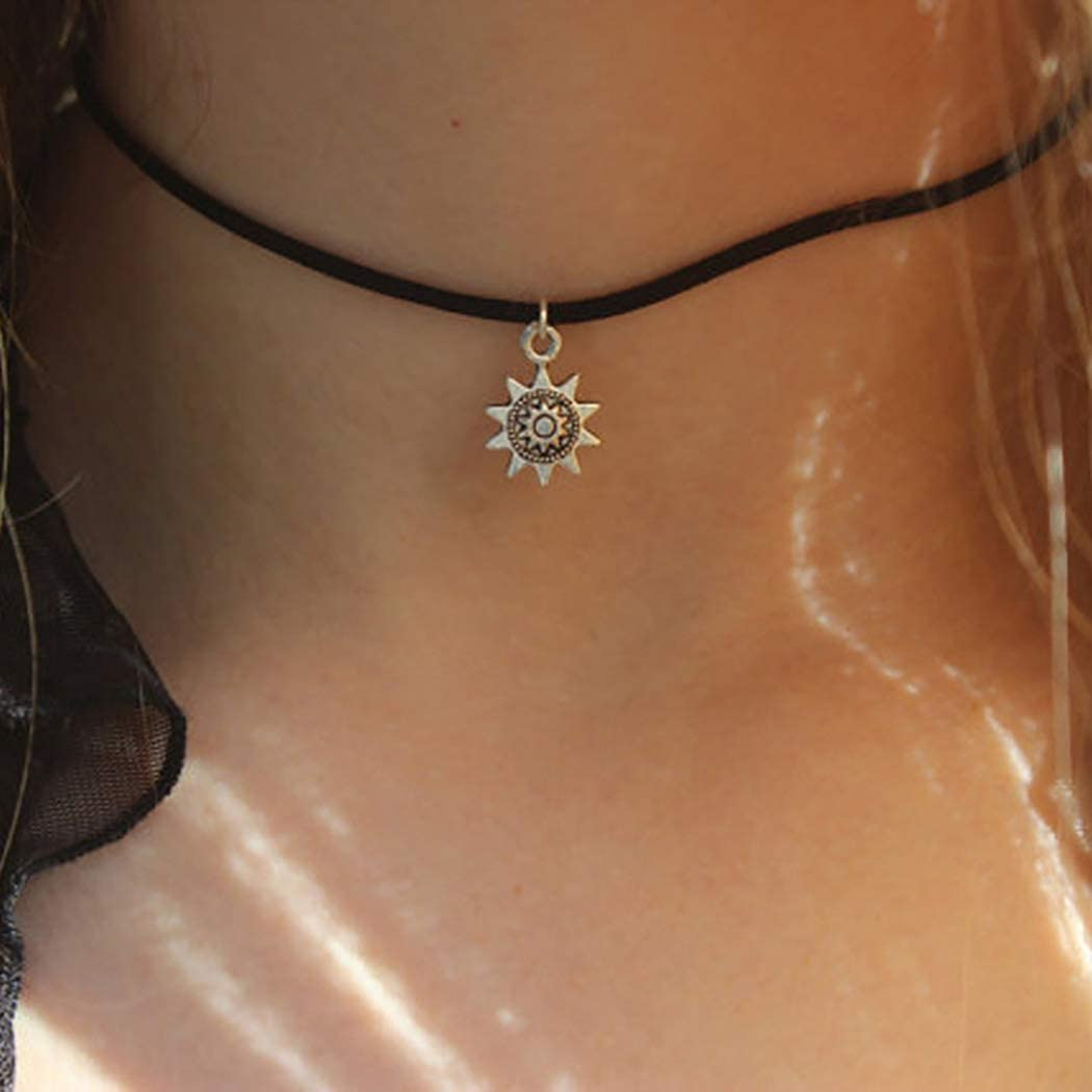 Leiothrix Layered Pendant Necklace Sun Choker Chain Jewelry Necklace for Women and Girls (Black)